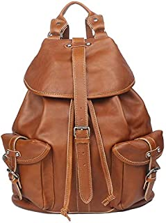 FYXKGLa Men's Leather Travel Backpack Retro Buckle Casual Portable Laptop Bag (Color : Yellow)