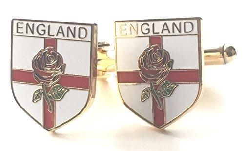 England St Georgs-kreuz & Rote Rose Emaille Verziert Manschettenknöpfe (N41 Verpacktes Geschenk