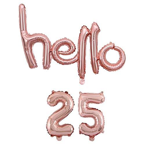 DIWULI, hello 25 ballon, roze goud, cijferballon, letterballonnetje, cijferballonnen, folieballonnen nummer geen jaar, folieballonnen, 25e verjaardag, feestje, decoratie, geschenkdecoratie
