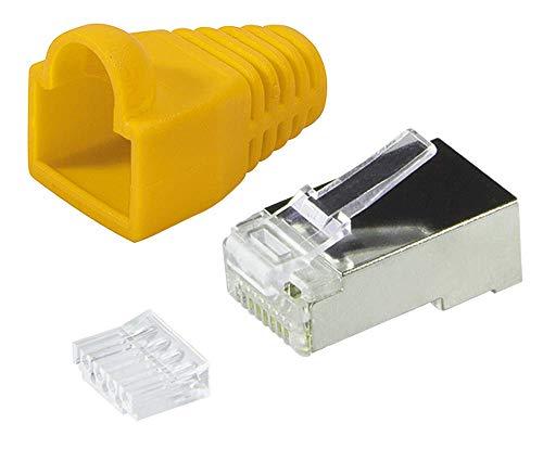 Faconet® 20 Stück RJ45 Crimpstecker Netzwerkstecker CAT 5e CAT 6 STP geschirmt mit Einfädelhilfe und Hülle Knickschutz in Gelb, Stecker für Patchkabel LAN Kabel