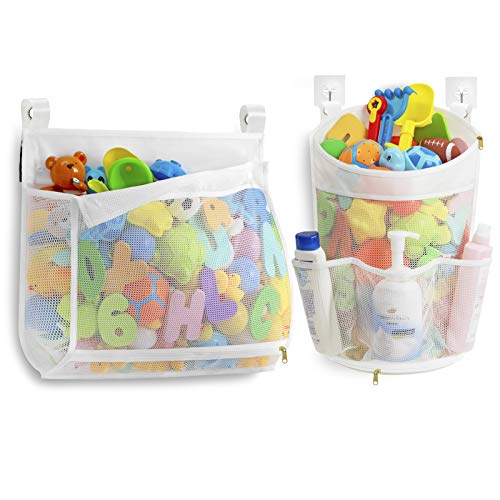 Mesh Bath Toy Organizer with YKK Zipper, Multiple Ways to Hang, Ultra Large Capacity & Large Opening, Bathtub Baby Toy Storage Bag, with 3 Side Pockets (2 Packs)