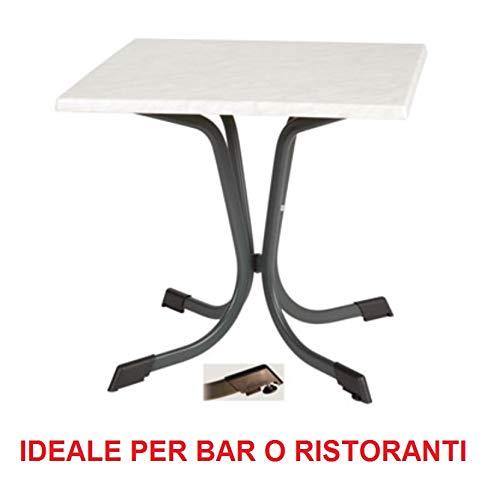 Table d'extérieur 70 x 70 cm avec plateau en Werzalit anti-rayures, motif marbre de carrare, structure en fer galvanisé laqué anthracite – Idéal pour bar restaurant