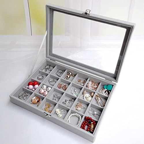 Serrale Caja de almacenamiento de joyas Pendientes Caja de pendientes Joyas Polvo Pendientes de clip de oreja Acabado de línea de oreja Caja de joyería de franela a cuadros-B_
