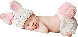 Disfraz de ganchillo de conejito rosa para recién nacido, ideal para sesiones fotográficas