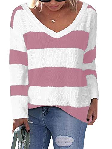 YOINS Swetry dla kobiet luźne długie rękawy dekolt w serek dzianina top na co dzień bluzka sweter damski