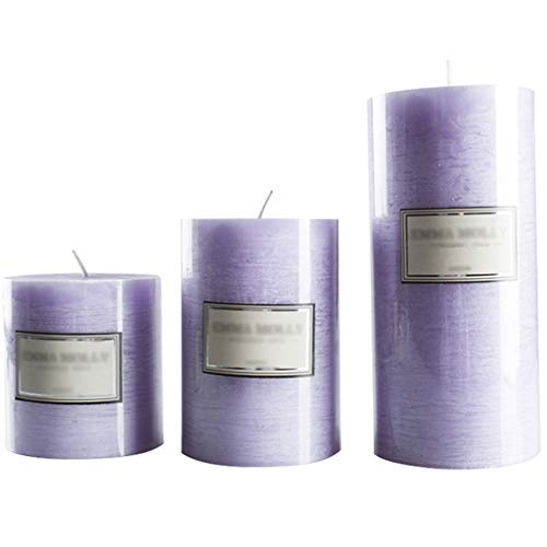 LAZHKG Aroma De Lavanda, Vela Perfumada Púrpura Romántica, Cera De Columna De Candelabro De Hotel Occidental, Vela Sin Humo De Cumpleaños