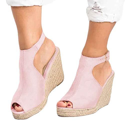 Sandalias de plataforma para mujer con correa al tobillo y puntera abierta, sandalias de plataforma de cuña con suela gruesa y correa de hebilla romana, rosa, 43