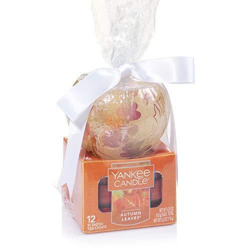 Yankee Candle Frosted Colored Leaf Tea Light Candle Holder Set Gift Set
