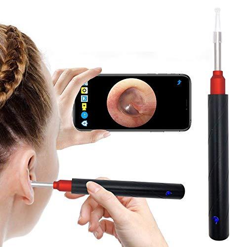 BLAZOR Otoskop,5.0MP HD WiFi Ohr Endoskop, 3.5mm Ohr Reinigung Endoskop Kamera, Drahtloses Otoskop für Erwachsene Kinder, Ohrendoskop Kamera mit 6 LED Leuchten, für iPhone/iPad/Android (schwarz)