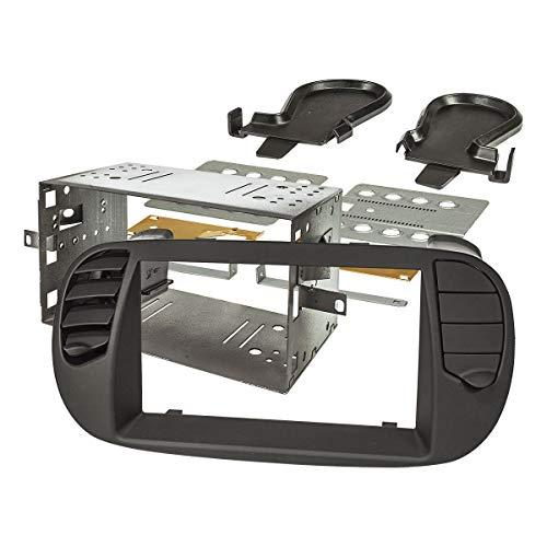 tomzz Audio 2414-069 Doppel DIN Radioblende Set kompatibel mit FIAT 500 Bj.2008-2015 schwarz Soft Touch mit beweglichen Lüftungsgittern, Einbaukit
