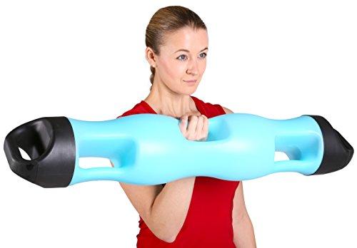 SportPlus Aqua Tube Pro / Waterpipe, einzigartiges bis 10 kg wasserbefüllbares Trainingsgerät, 5 verschiedene Griffpositionen, Füllstandsanzeige in 1 kg Stufen, schlag- und bruchsicher