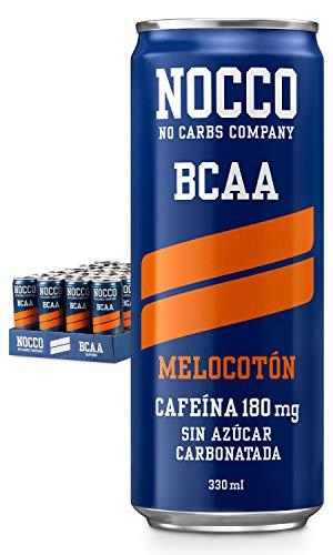 NOCCO BCAA Melocotón 24 x 330ml Bebida energética funcional sin azúcar No Carbs Company Enriquecida con vitaminas Con cafeína Bebidas funcionales de sabores para deportistas