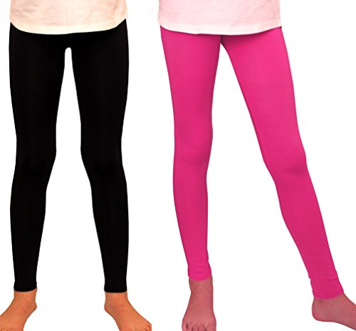 Syleia Girl Leggings High Rise 2 Pairs Set Pink and Black (Age 4-12 Years Old) Bright Solid Colors Great Stretch for All Day Comfort Back to School (Large)