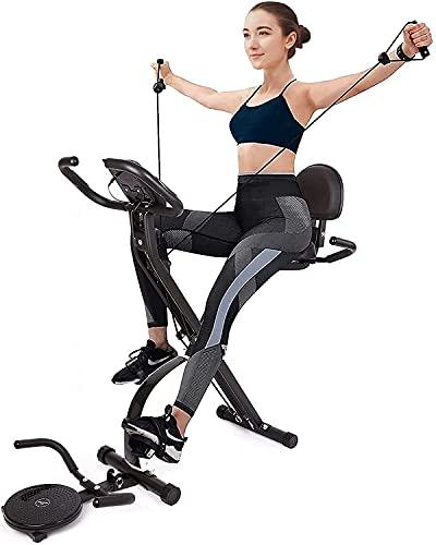 Vélo d'Appartement Magnétique Pliable de 16 Niveaux avec Disque Rotatif et Bande d'Exercice, avec une Capacité de...