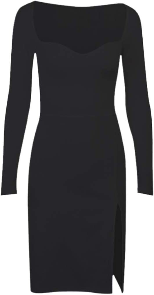 ZAJ Women Sexy Dress for Square Neck Long Sleeve Bodycon Dress Slim Elegant Dress 1pc (Color : Black, Size : Large)