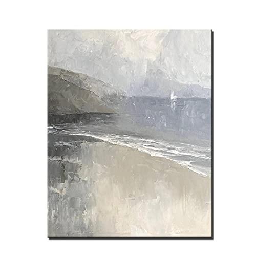Arte en lienzo Pintura al óleo nórdica Pintada en gris Paisaje Pintura en lienzo Sala de estar Pintura decorativa abstracta Porche Pintura colgante 60x90cm / 23.6 'x35.4' / NoFrame