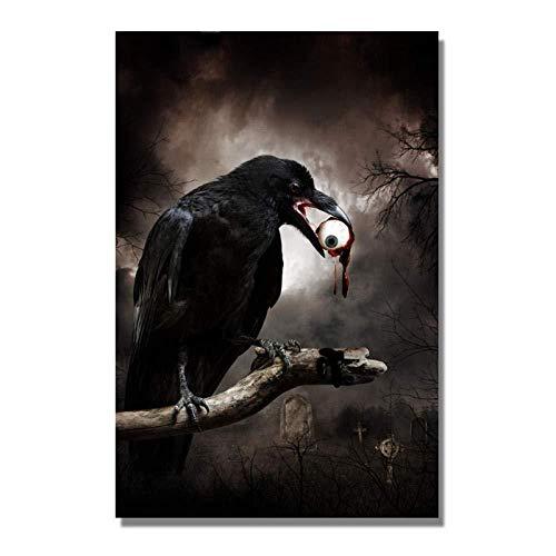 DIY Schilderen op nummer kinderen schilderen kit Enge zwarte vogel handgeschilderd frameloos schilderij 40x50cm