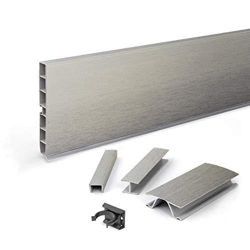 DQ-PP Sockelleiste 7,5m | Sockelblende | 150mm | Inox | Kunststoff | Sockel | Sockelleisten | Sockelprofil | Küchensockel | Kuechensockelleiste für Einbaukueche