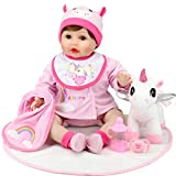 Aori Reborn Baby Dolls 22 Inch Realistic Newborn Baby Girls Lifelike Weighted Baby Girl Dolls Pink Unicorn Reborn Baby Girl Dolls