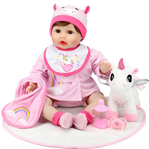 Aori Reborn Baby Dolls - 22 Inch Realistic Newborn Dolls - Lifelike Weighted Girl Doll with Pink Clothes Accessories and Unicorn Toy - Ideal Gift Set for Girls
