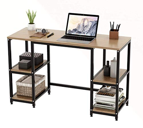 Computer Desk with 4 Tiers Shelves -47.2 inch Writing Study Desk with Bookshelf Modern Home Office Desk Stable Corner Desk for Small Space Steel Frame & Wood Desk (Walnut)