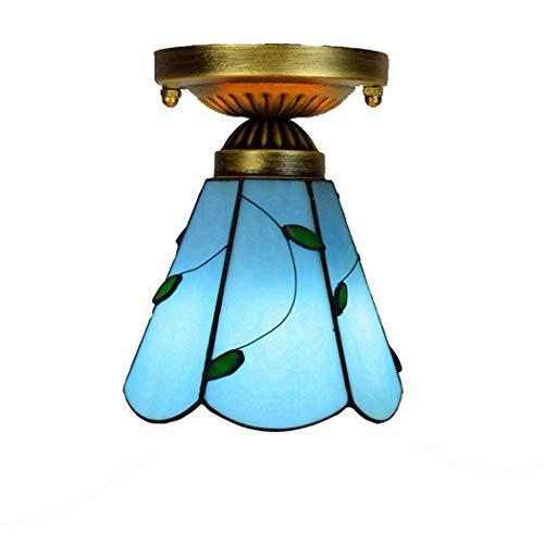 Inbouw plafond lichtpunt Tiffany Style hal verlichting Plafondlamp 6-Inch Mediterranean Blue Leaves glazen kap hanger voor Kitchen Island Loft Cafe Bar, E27
