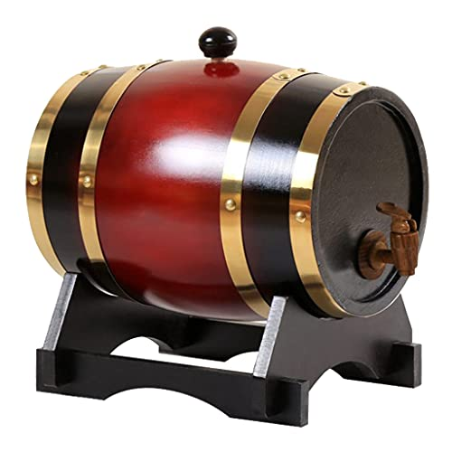 perfk Barril de Vino de Pino Retro Elaboración Especial Dispensador de Barril de Puerto Barriles de Cerveza con Soporte para Tequila Vino Bourbon Whisky - 5L Rojo Vino
