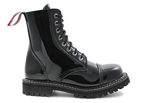 ANGRY ITCH - 8-Loch Gothic Punk Army Ranger Lackleder Schwarz Armee Stiefel mit Stahlkappe - Größen 36-48 - Made in EU!, EU-Größe:EU-46