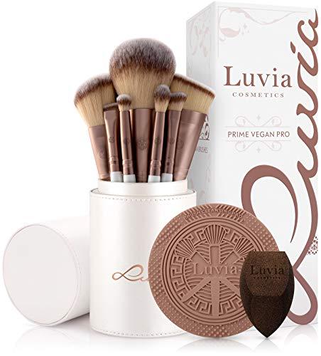 Luvia, Prime Vegan Pro, 12 pennelli da trucco con contenitore per pennelli, spugna e tappetino per la pulizia per pennelli da trucco, madreperla e caffè