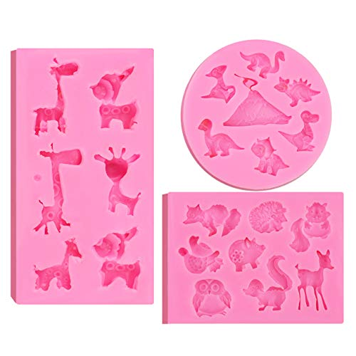 Animals Fondant Silicone Molds,BUSOHA 3 Pack 3D Silicone Various Animals Shape Moulds Jungle Safari Nonstick Baking Cake Mold Chocolate Cupcake Candy Jelly Ice Cookies Pudding( 22 animal models)