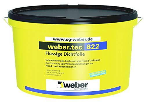 Weber.Tec 822 Gebrauchsfertige, Hochelastische Flüssig-Dichtfolie zur Erstellung von Verbundabdichtungen im Wand-, und Bodenbereichen 24Kg