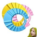 3 Pack Duschhaube Kinder Schutz für Babys gegen Shampoo,Baby Bad Mütze Safe Shampoo Cap Weich Verstellbare Wash Badekappe für Augenschutz Dusche Babypflege