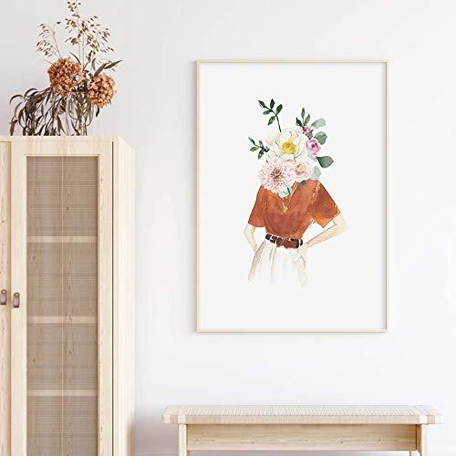BailongXiao Rosa Mode Frau weibliche Mode Leinwand Wandkunst Malerei Dekoration auf Leinwand,Rahmenlose Malerei,60x90cm