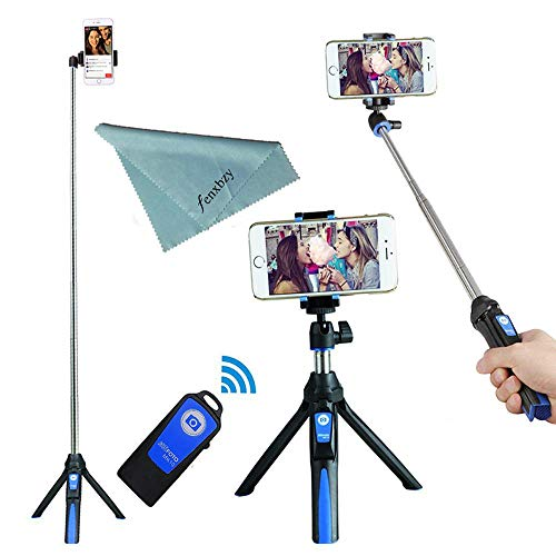 BENRO Handheld Tripod 3 in 1 Self-Portrait Monopod Phone Selfie Stick Bluetooth Remote Shutter Compatible with Smartphone (Blue)