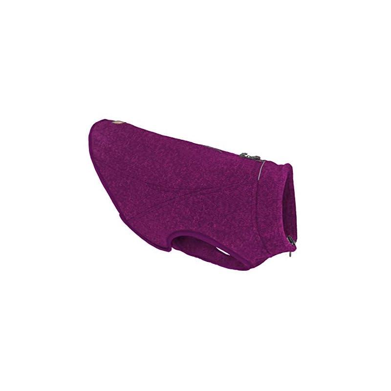 dog supplies online kurgo k9 core dog sweater | sweater for dogs | dog fleece vest | knit fleece pet jacket | fleece lining | lightweight | zipper opening for harness | adjustable neck | heather violet 5