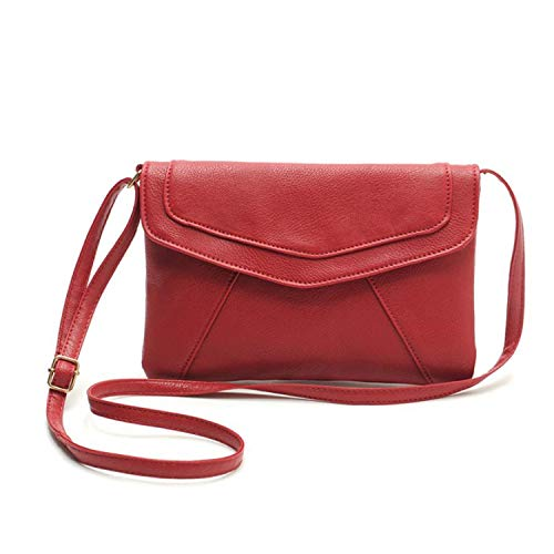 FORU Official Store Vintage Donne Busta Satchel Borsa a tracolla Borsetta in pelle PU Messenger Cross Body Small Bag Drop Ship #T, Rosso, (A tinta unita), Taglia unica