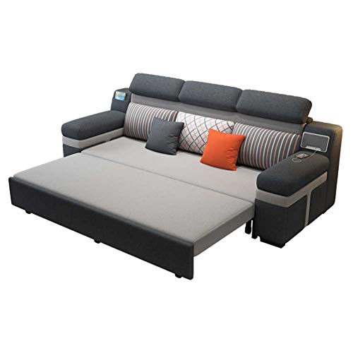 RJMOLU Reversible Loveseat and Sofa Bed Couch Sleeper - Sectional Sofa Couch with Pull-Out Sleeper, Grey Corner Sofa Bed with Storage & Speaker,180cm