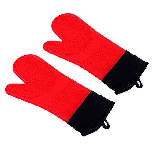F Fityle 2pcs Guantes de Barbacoa de Silicona Resistentes Al Calor con Aislamiento Horno de Cocción Casera para Hornear - Rojo