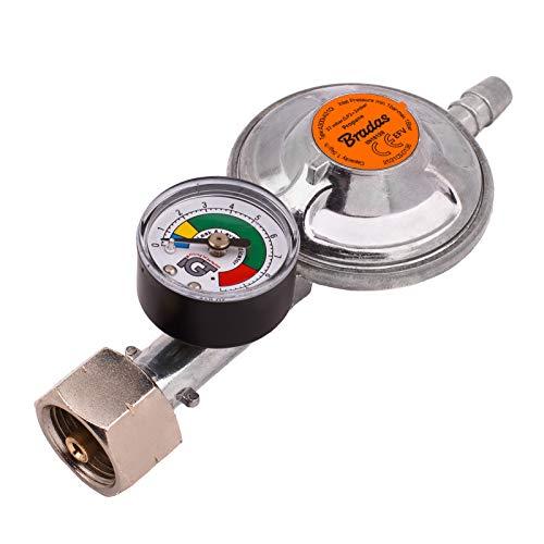 Propangasregler 37 mbar, 1,5 kg/h mit Notfallventil und Messgerät, für 9-10 mm Schlauch, Grill, Camping, Wohnwagen, Klempner