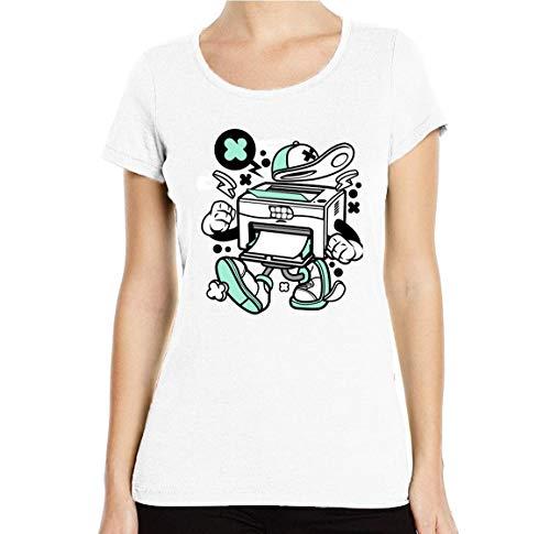 Cartoon Style Laser Printer Needs Ink T-shirt voor dames, ronde hals