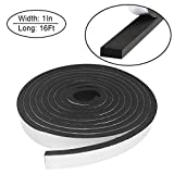 Foam Insulation Tape Self Adhesive,Weather Stripping for Doors and Windows,Sound Proof Soundproofing Door Seal,Weatherstrip,Cooling,Air Conditioning Seal Strip (1In x 3/8In x 16Ft, Black)