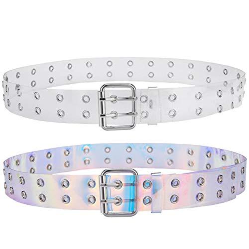 TENDYCOCO Cinturón Transparente Holográfico de Moda Cinturón de Cintura de PVC Transparente...