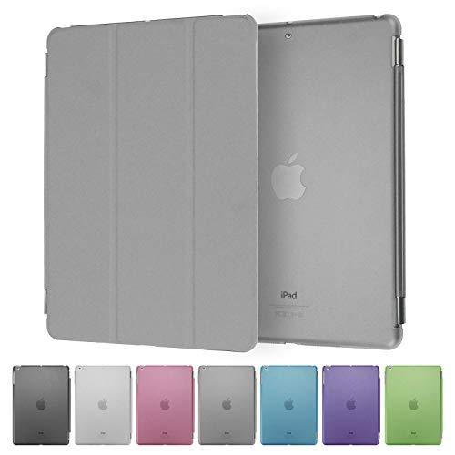 doupi Smart Cover & Case für iPad Mini 1 2 3, Frontcover mit Automatischer An/Aus Funktion, Aufstellbar Schutz Hülle Etui Kunstleder Klappe Ständer, grau