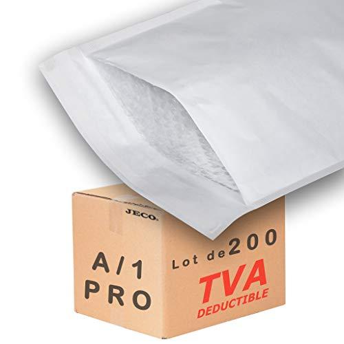 JECO - 200 Enveloppes à bulles d'air pochettes matelassées d'expedition PRO taille A1 A/1 int. 110 x 165 mm
