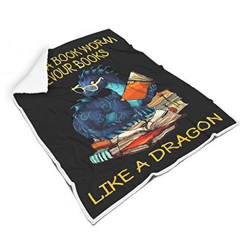 wbinshey I'm Not A Book Worm I Devour Books Like A Dragon Alfombra de forro polar suave Material europeo Estilo para cumpleaños habitación de niños y una para niños blanco 50 x 60 pulgadas
