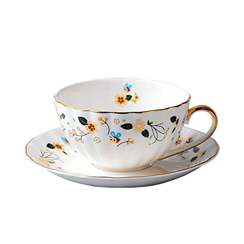qwert Tasse à café et Soucoupe Set,Tasse à thé Tasse en Porcelaine Ménage Bureau Tasse de Petit déjeuner Contenance 170ml 1 Tasse 1 Assiette 1 cuillère-A