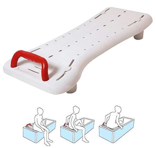 OrtoPrime Asiento Bañera Adulto Antideslizante - Tabla de Bañera Ajustable para Fácil Transferencia - con Asa de Seguridad - Banco de Baño Comodidad y Seguridad