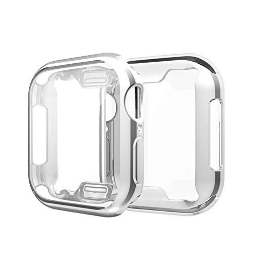 ZAALFC Funda protectora de pantalla para reloj de 44 mm, 40 mm, TPU suave, ultra fina, HD, transparente, para reloj Serie 4 Series 5 (color: plata, diámetro de la esfera: 44 mm, serie 4 5)