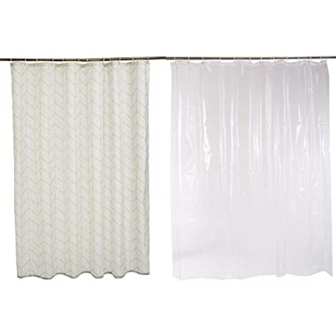 AmazonBasics Shower Curtain with Hooks (Natural Herringbone) and Shower Curtain Liner (Clear) Set
