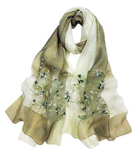 Alysee Women Soft Warm Silk&Wool Mixed Gradient Embroidered Scarf Headwrap Shawl Olive Green